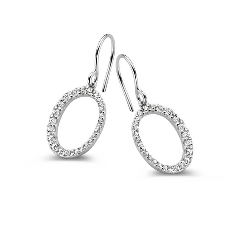 Hoepel oorhangers in zilver en zirkoon - Naiomy Silver