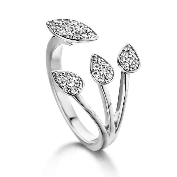 Zilveren ring met blaadjesmotieven in zirkoon - Naiomy Silver