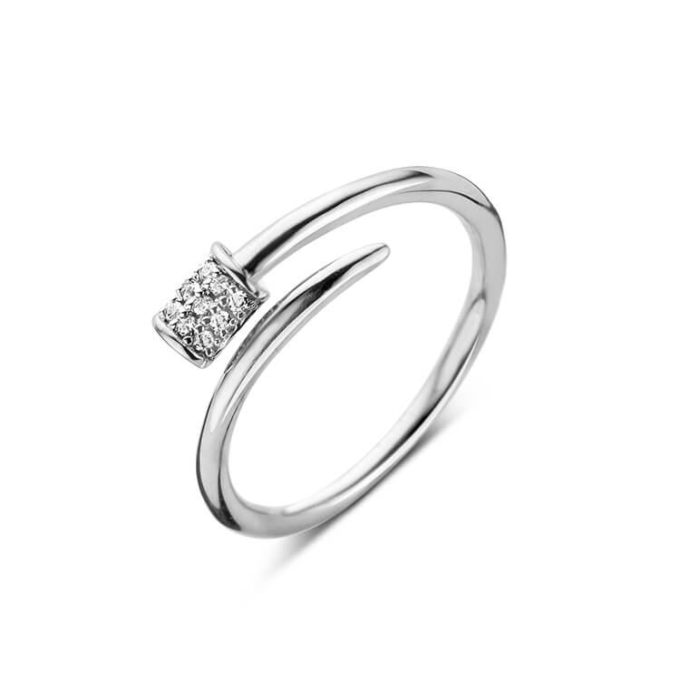Zilveren ring met motiefje in zirkoon - Naiomy Silver