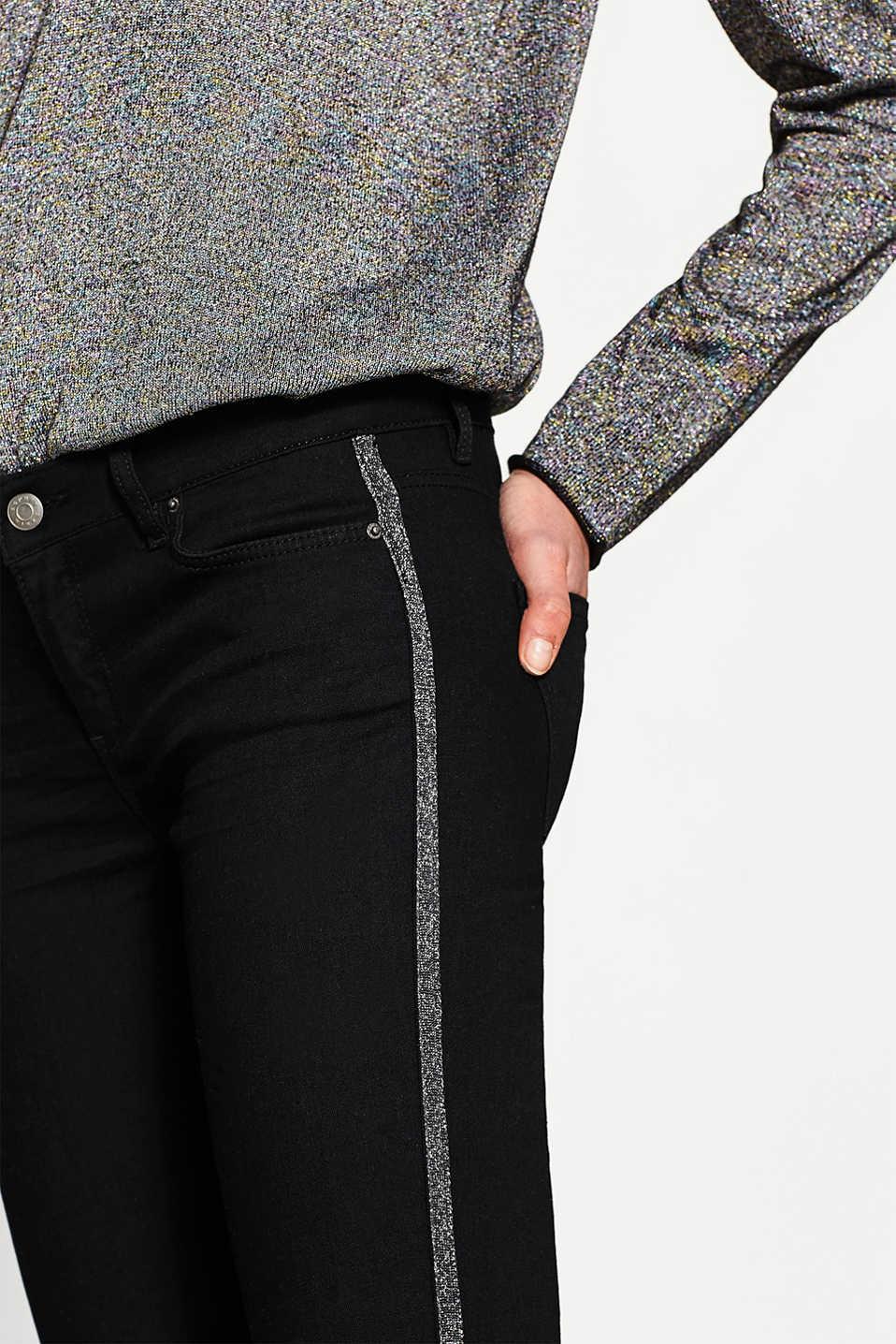 Zwarte skinny jeans met metallic zijpand